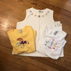 Embroidered tank and short sleeve shirts